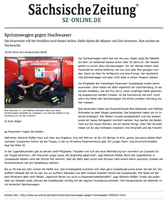 Artikel Sächsische Zeitung
