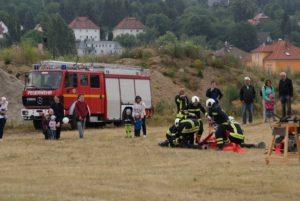 Vorbereitung Löschangriff zum Feuerwehrwettkampf